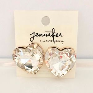 HUGE Lightweight  Heart Earrings CZ NWT